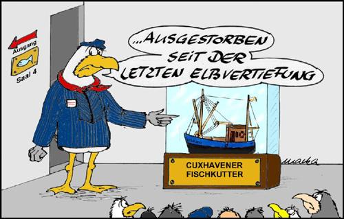 Satirischer Cartoon zum Thema Elbvertiefung