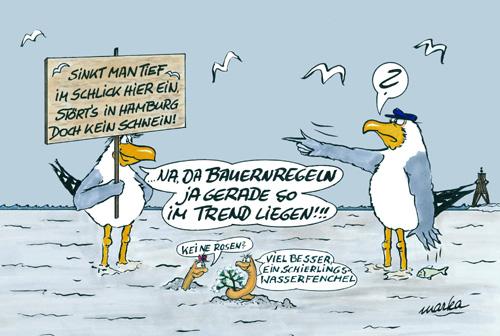 Maritimer Comic, Möwe, Watt, Nordsee
