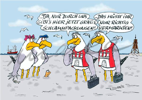 Cuxhaven-Cartoon_Schlammpackung_Marka-Design