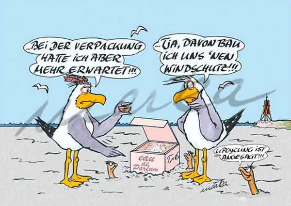 Cuxhaven-Cartoon_Verpackungsmuell_Marka-Design
