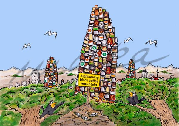 Karikaturen_black-coffee-mountain_Marka-Design
