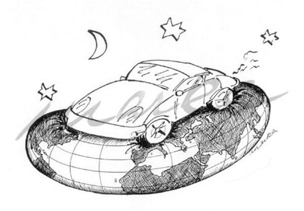 Autowelt - Ein kritischer Cartoon von Marka Design