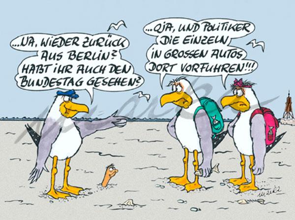 Bundestag und große Autos - maritimer Cartoon von Marka Design