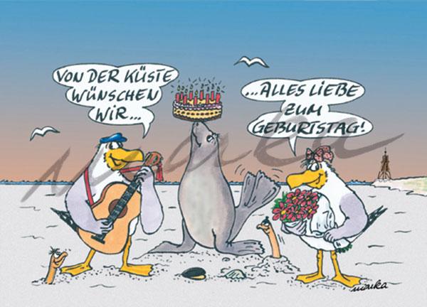 Geburtstag+-Robbe - Grußkarte / Postkarte von Marka Design