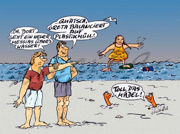 Greta balanciert auf Plastikmüll - Ein kritischer Cartoon von Marka Design