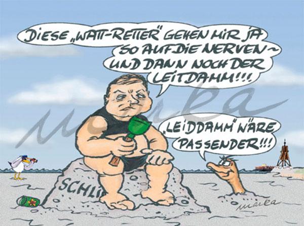 Leid-Damm - Ein kritischer Cartoon von Marka Design