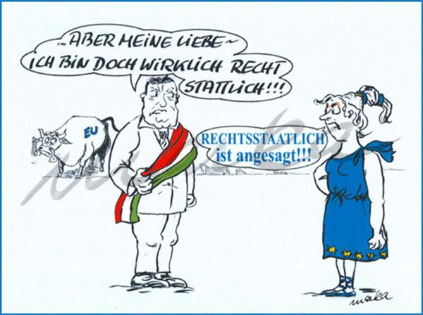 Recht stattlich - Ein kritischer Cartoon von Marka Design
