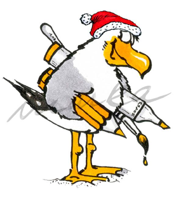 Weihnachtsmöwe - Grußkarte / Postkarte von Marka Design