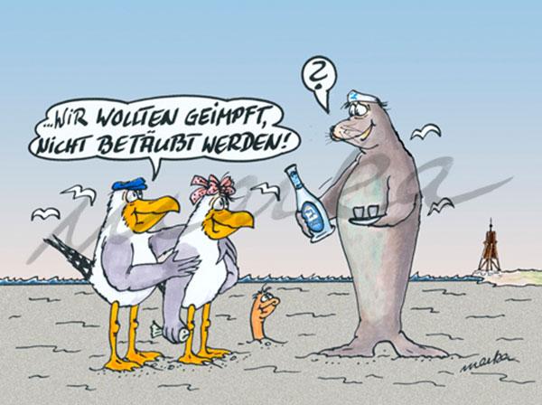 Geimpft nicht betäubt - maritimer Cartoon von Marka Design