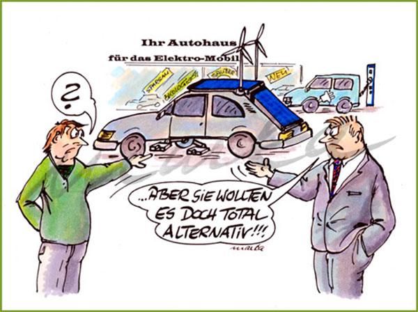 Total alternativ - Ein kritischer Cartoon von Marka Design